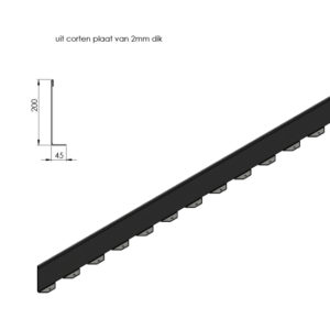 WALFiLii afboordingen in cortenstaal detail